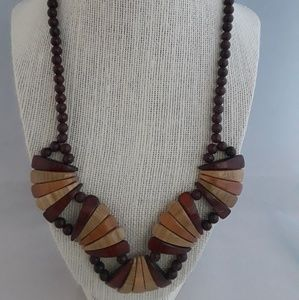 Brown and Tan Wooden Necklace